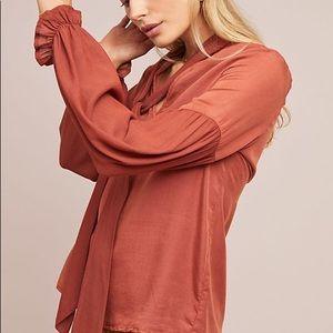 Anthropologie Amadi tie neck balloon sleeve blouse